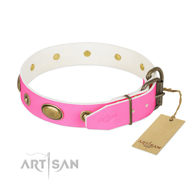 Reliable buckle on full grain genuine leather dog collar for your pet