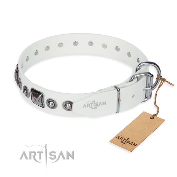 Top rate full grain genuine leather dog collar made for everyday walking