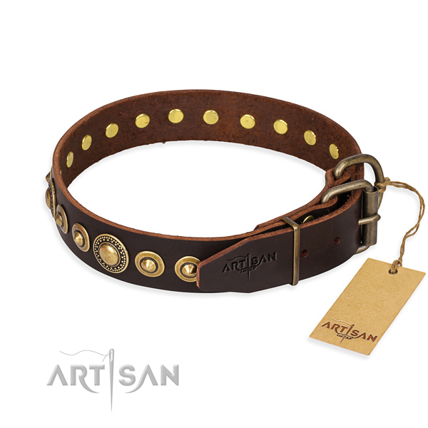 High quality full grain genuine leather dog collar handmade for everyday walking