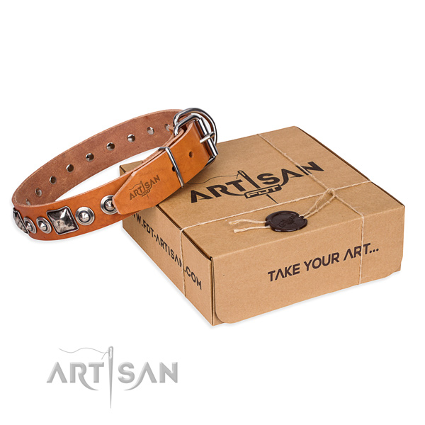 Natural genuine leather dog collar made of top rate material with corrosion resistant hardware