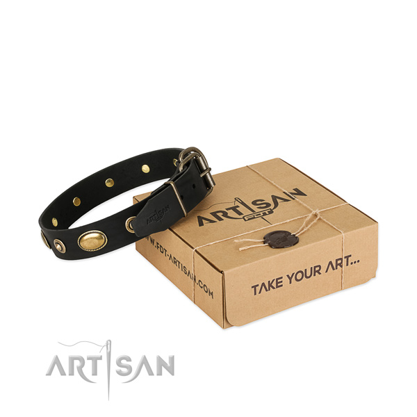 Durable hardware on full grain leather dog collar for your dog
