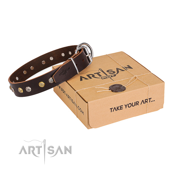 Best quality full grain genuine leather dog collar handmade for comfortable wearing
