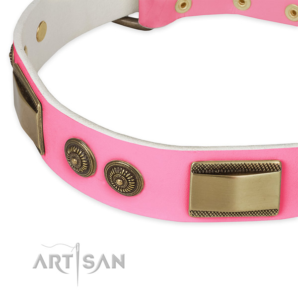 Full grain leather dog collar with studs for comfy wearing