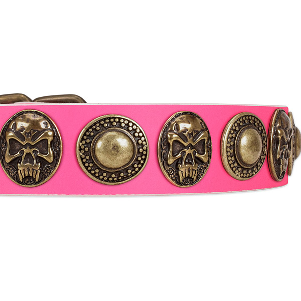 Reliable buckle on genuine leather dog collar for your doggie