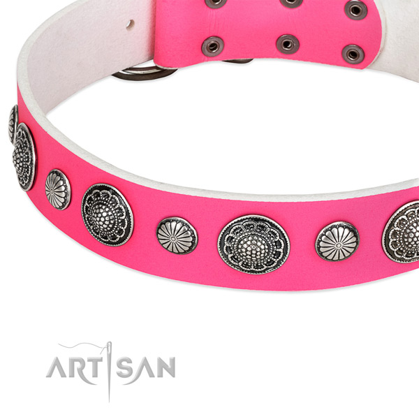 Genuine leather collar with corrosion proof buckle for your attractive doggie
