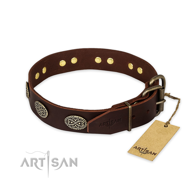 Strong traditional buckle on full grain natural leather collar for your stylish canine