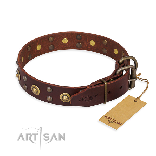 Corrosion resistant fittings on full grain genuine leather collar for your stylish dog