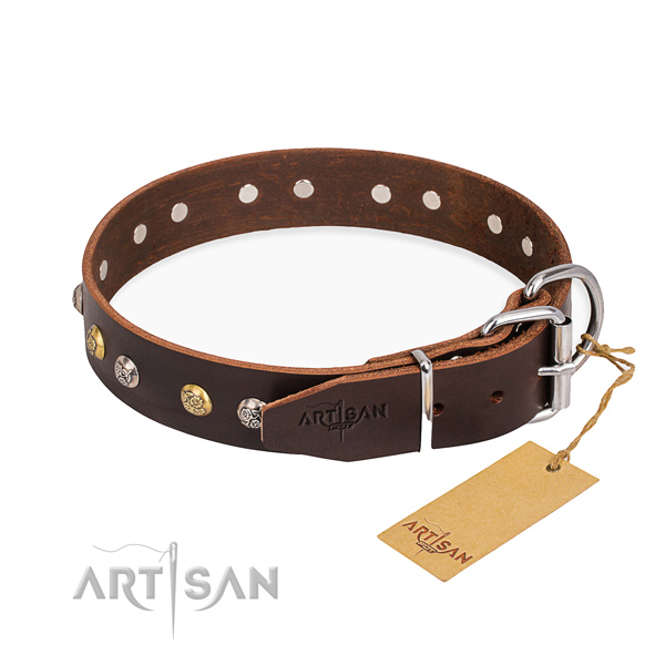 Top notch full grain genuine leather dog collar crafted for everyday walking