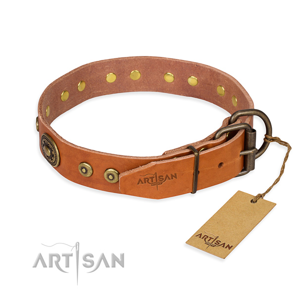 Natural genuine leather dog collar made of quality material with corrosion resistant studs