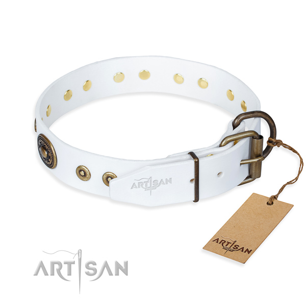 Full grain natural leather dog collar made of reliable material with corrosion proof studs
