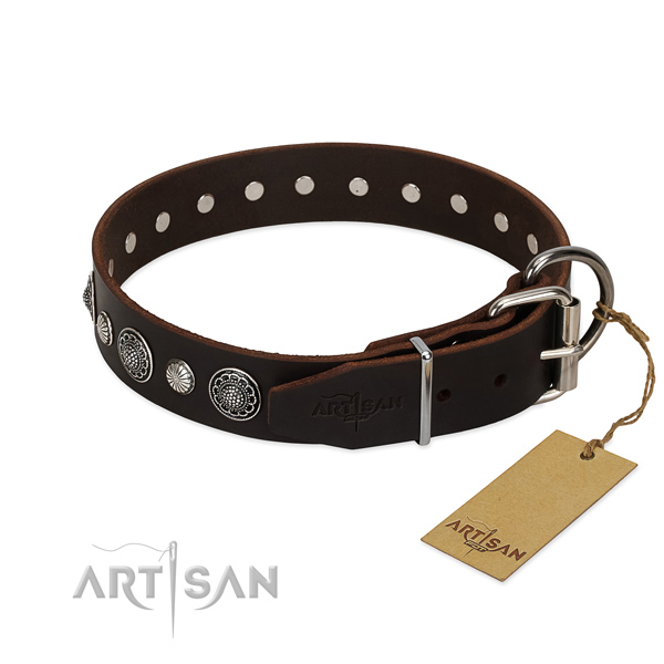 Strong natural leather dog collar with designer adornments