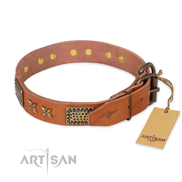 Reliable fittings on natural genuine leather collar for your beautiful pet