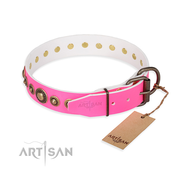 Flexible leather dog collar handmade for everyday walking