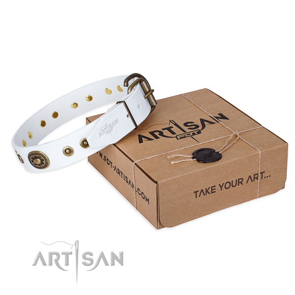 Natural genuine leather dog collar made of soft to touch material with durable traditional buckle