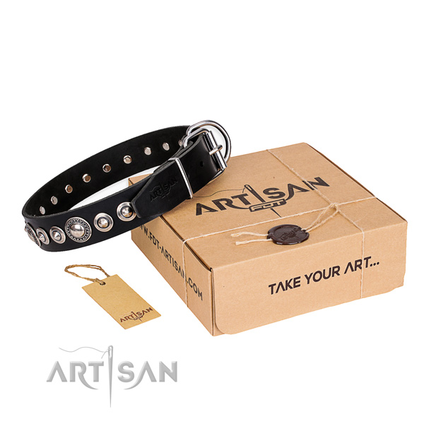 Best quality full grain genuine leather dog collar