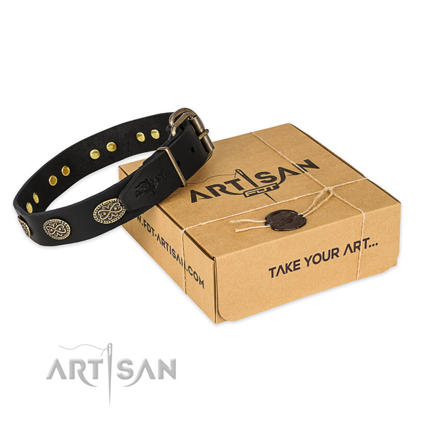 Rust resistant traditional buckle on natural genuine leather collar for your handsome doggie