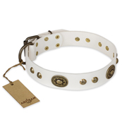 """Adorable Dream"" FDT Artisan White Leather Great Dane Collar"