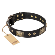 """Jewel Passion"" FDT Artisan Fashionable Black Leather Great Dane Collar"