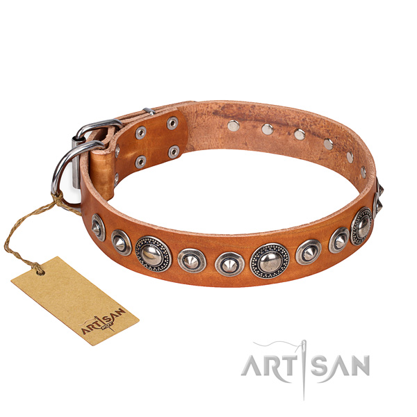 Genuine leather dog collar made of flexible material with reliable traditional buckle