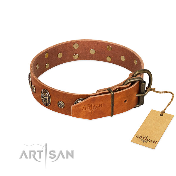 Durable hardware on full grain natural leather dog collar for your dog