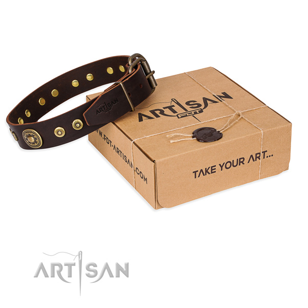 Full grain genuine leather dog collar made of high quality material with corrosion proof hardware