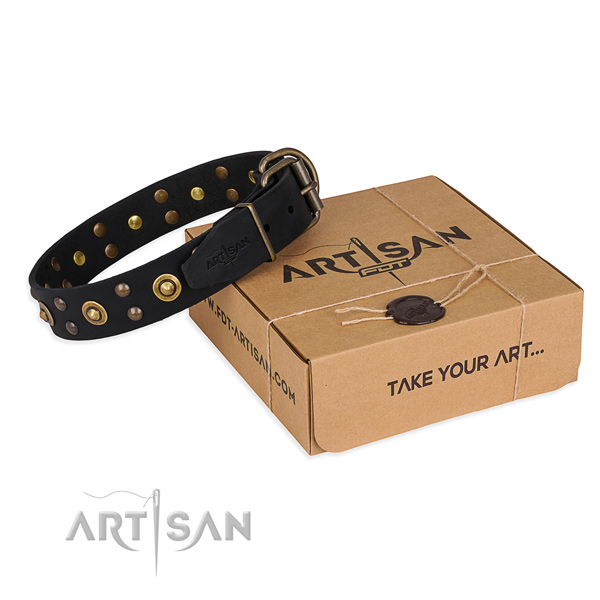 Corrosion proof hardware on full grain genuine leather collar for your lovely doggie