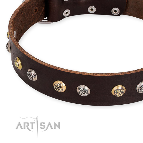 Natural genuine leather dog collar with designer rust-proof embellishments