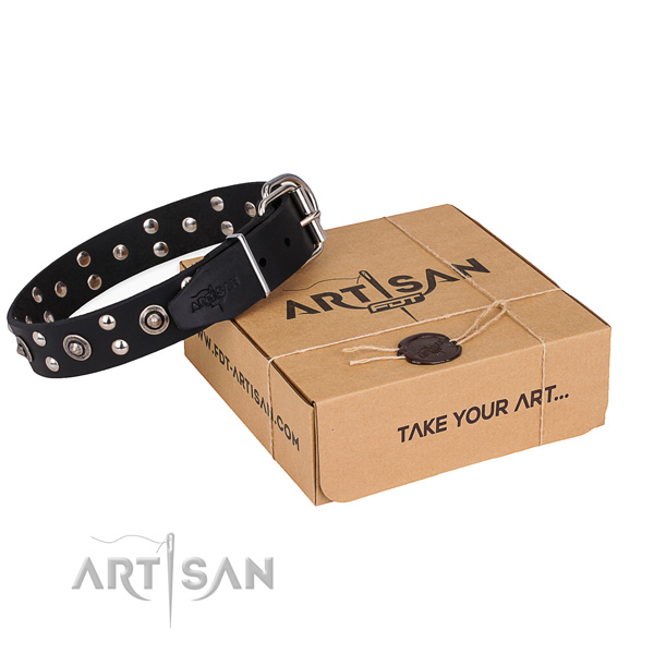 Comfortable wearing dog collar with Unusual corrosion proof decorations