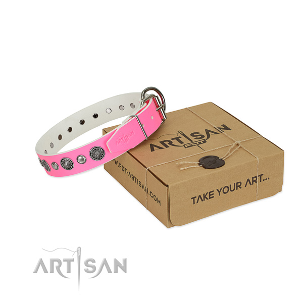 Full grain genuine leather collar with reliable traditional buckle for your attractive canine