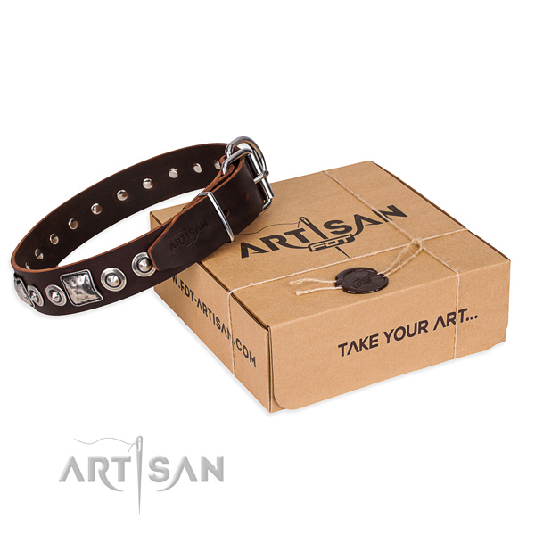 Leather dog collar made of soft to touch material with rust resistant fittings