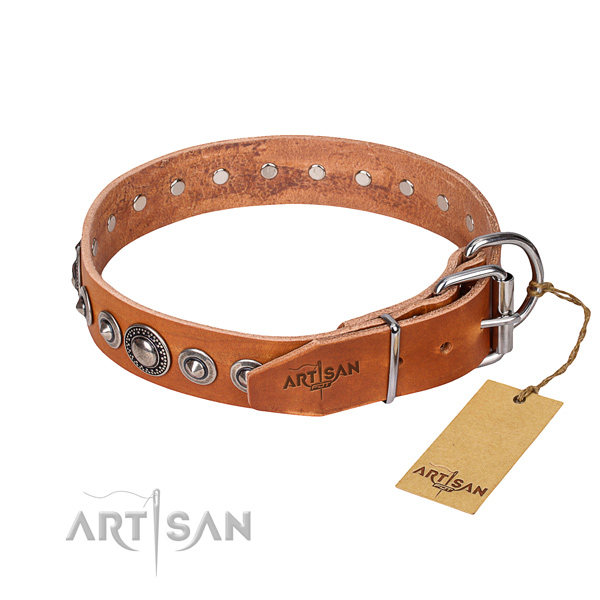 Full grain leather dog collar made of flexible material with strong decorations
