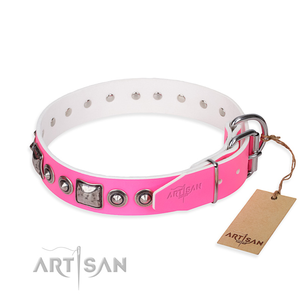 Soft to touch natural genuine leather dog collar handcrafted for everyday use