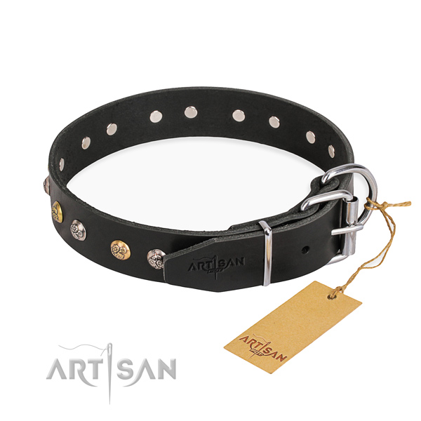Gentle to touch full grain leather dog collar handmade for daily use