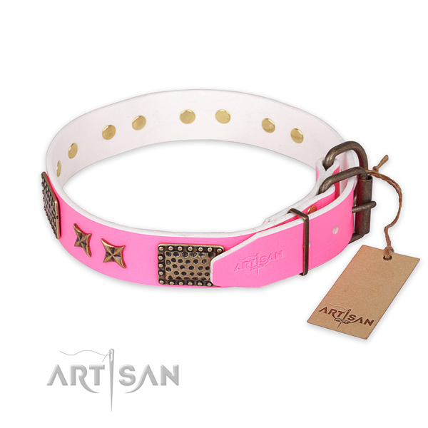 Reliable buckle on full grain leather collar for your attractive four-legged friend