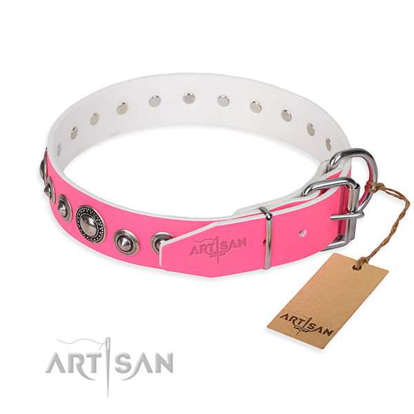 Full grain natural leather dog collar made of best quality material with rust-proof decorations
