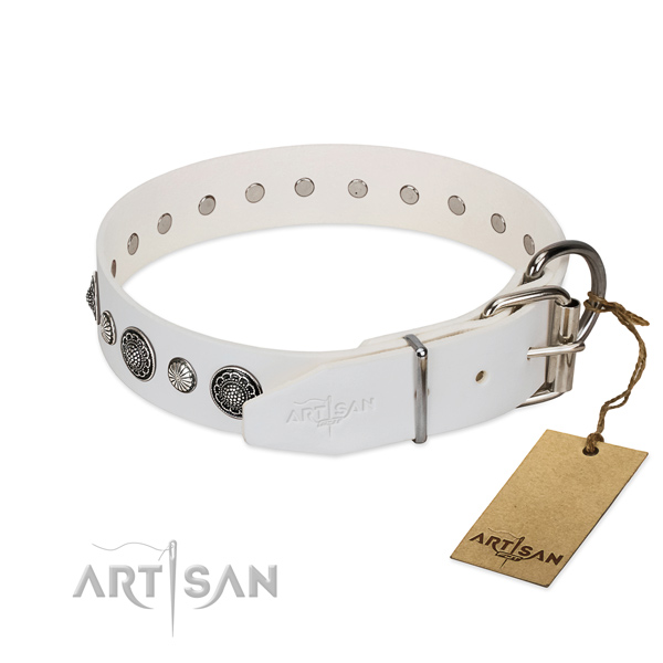 Reliable Full grain natural leather dog collar with corrosion resistant hardware