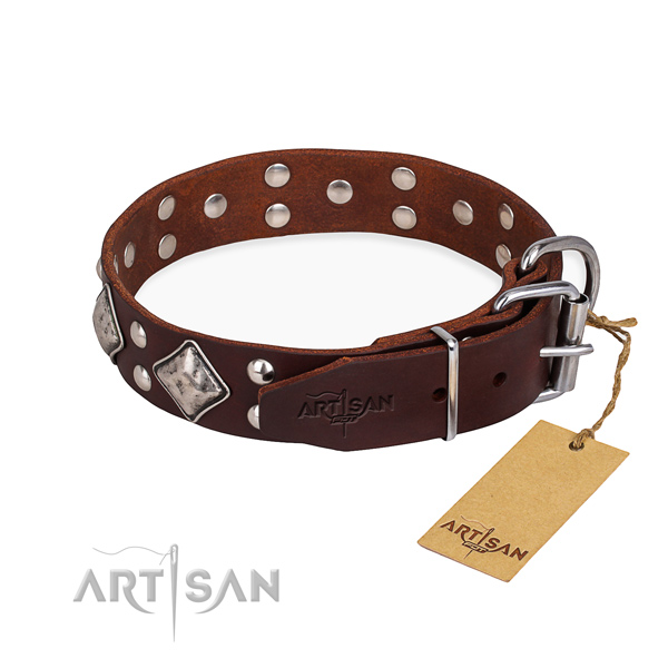 Full grain genuine leather dog collar with inimitable corrosion resistant studs