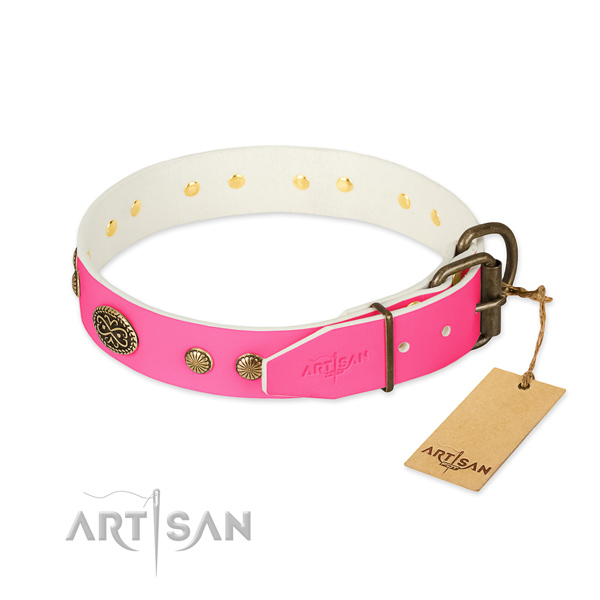 Corrosion resistant buckle on leather dog collar for your four-legged friend