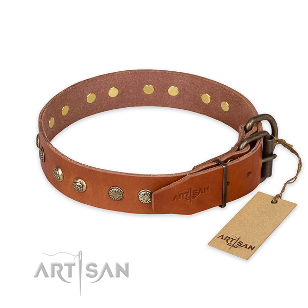 Corrosion resistant fittings on natural genuine leather collar for your stylish pet