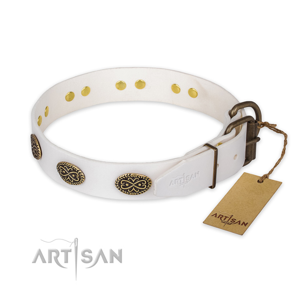 Reliable buckle on full grain genuine leather collar for daily walking your dog