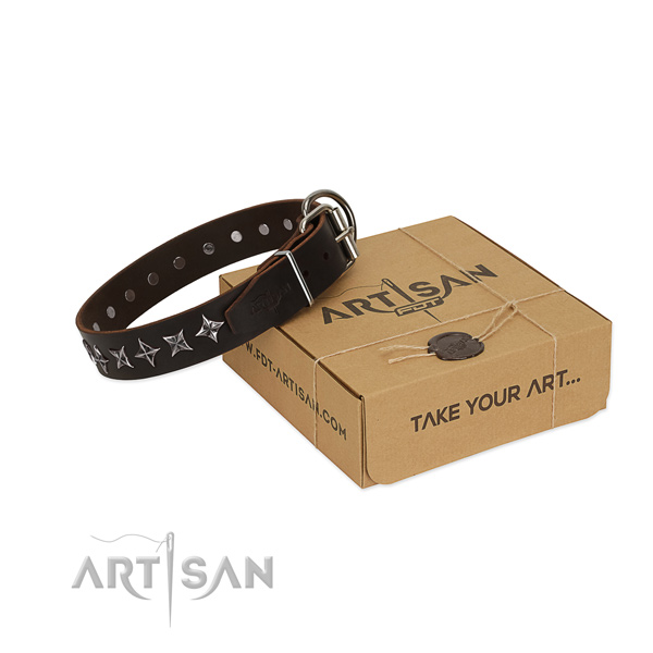Comfortable wearing dog collar of best quality full grain genuine leather with studs
