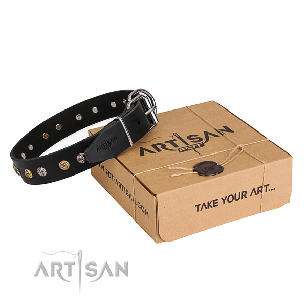 Soft to touch natural genuine leather dog collar made for fancy walking