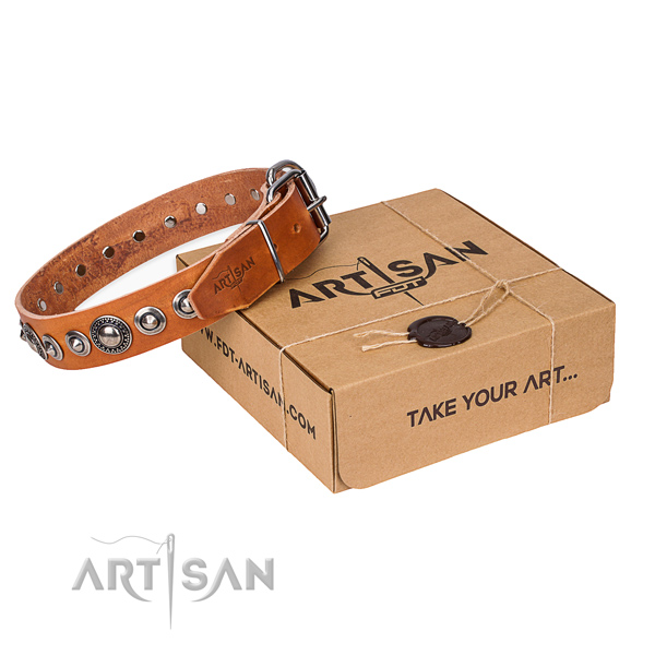 Natural genuine leather dog collar made of flexible material with rust resistant fittings