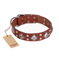 """Magic Squares"" FDT Artisan Tan Leather Great Dane Collar with Silver-like Decor"