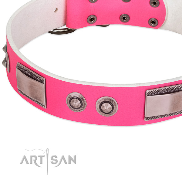 Designer full grain genuine leather collar with embellishments for your dog