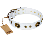 """Magnetic Appeal"" FDT Artisan White Leather Great Dane Collar with Old Bronze Look Decorations"