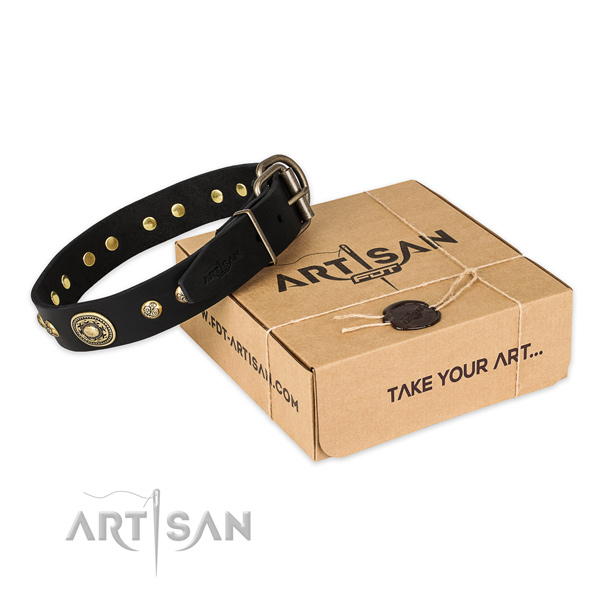 Rust-proof buckle on full grain genuine leather dog collar for comfy wearing