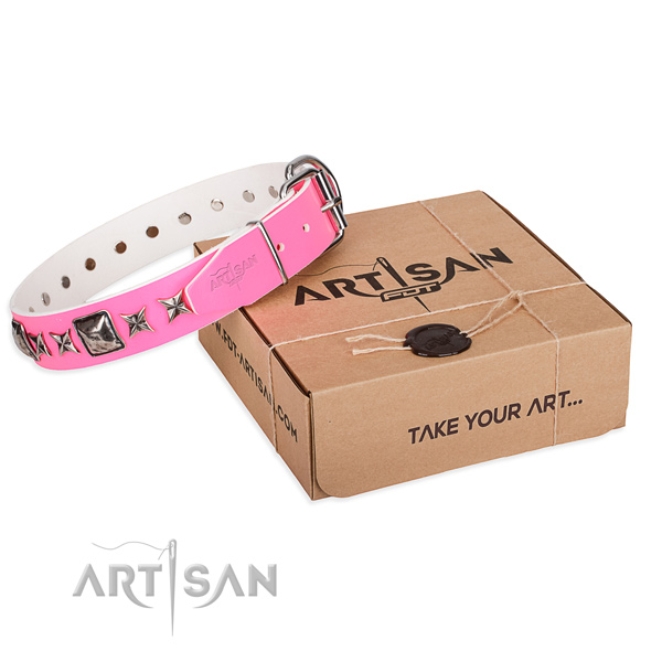 Comfortable wearing leather dog collar with adornments