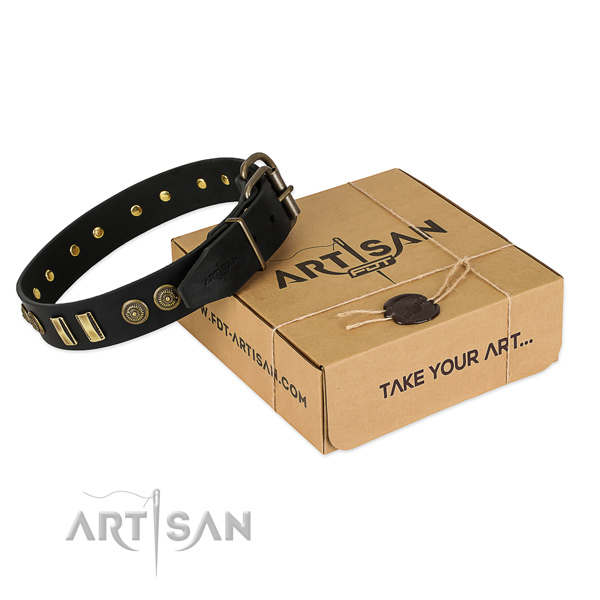Strong hardware on natural leather dog collar for your four-legged friend
