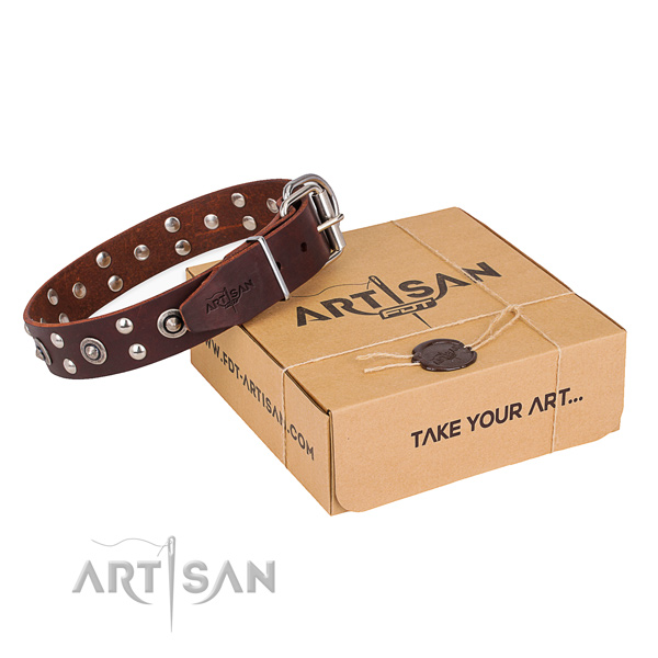 Durable D-ring on full grain leather collar for your lovely canine